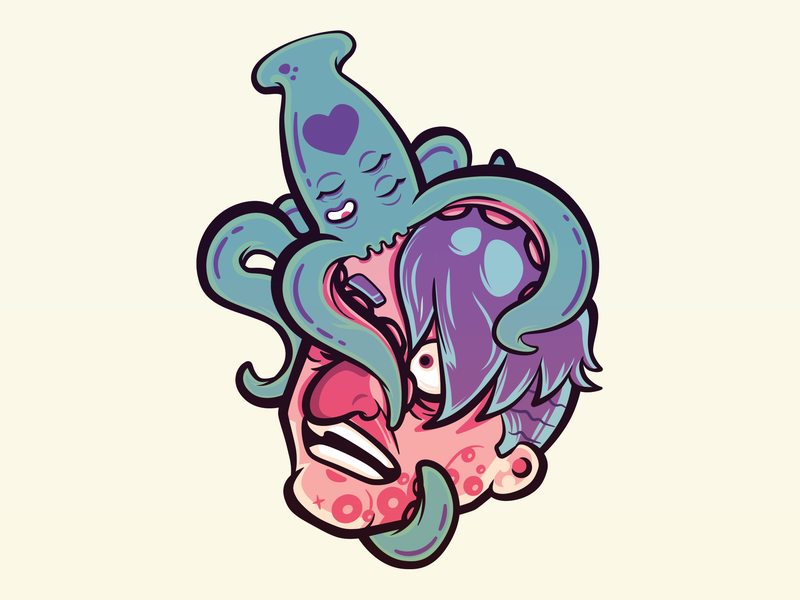 Sticky Love colorful tentacle squid art sticker vector design illustration
