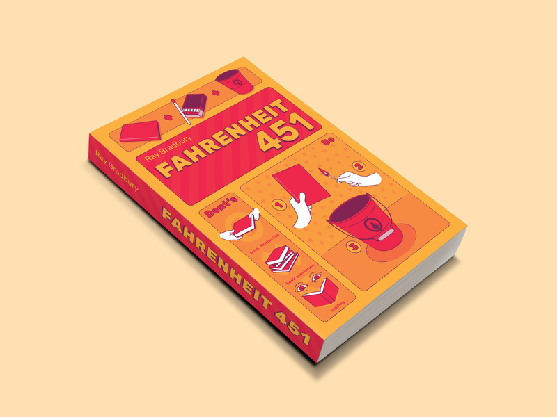 Fiction Book Project - Fahrenheit 451 graphic design mockup illustration infographic fiction editorial vector book cover art