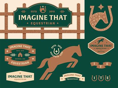 Imagine That Equestrian badge geometric banner ribbon barn star horseshoe equine horse brand identity illustration logo