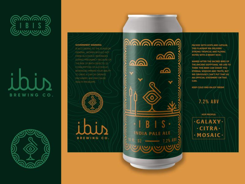 Brandimals 09 - Ibis animal marsh logo label beer can glass brewery beer geometric monoline illustration bird