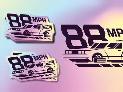Back to the Future gradient sticker holographic negativespace flying car racecar retro 80s delorean car illustration logo