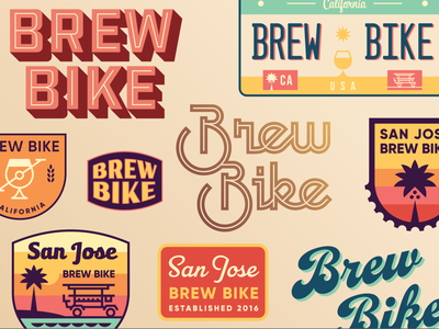 San Jose Brew Bike - Retro Badge Set vintage beer license plate tour sunset patch logo custom type script palm tree crest california