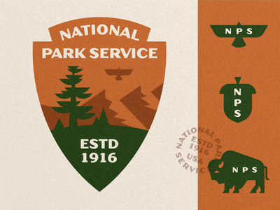 U.S. National Park Service - Badge Redesign bird acorn retro vintage tree mountain eagle bison arrowhead crest badge logo