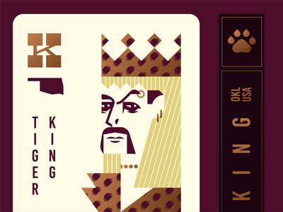 Joe Exotic Playing Card cat king midwest handlebar netflix oklahoma leopard crown tiger deck of cards illustration logo