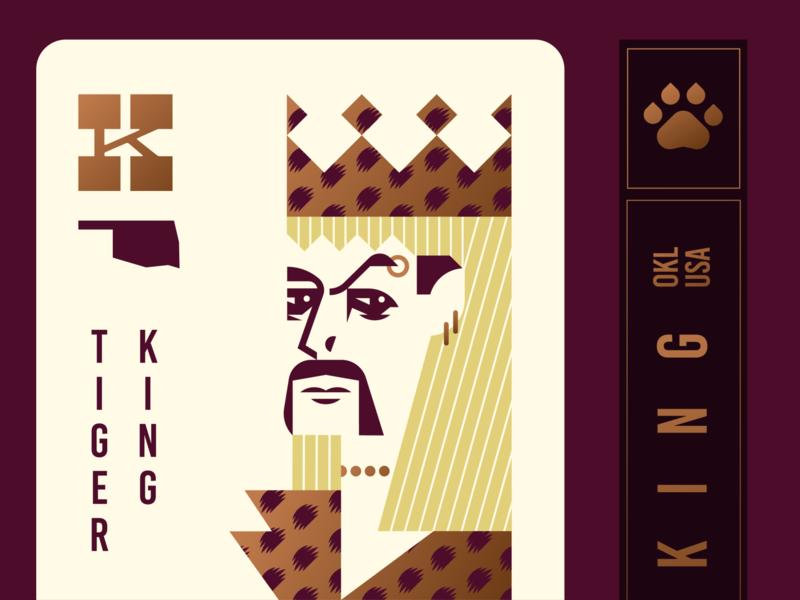 Joe Exotic Playing Card cat king midwest handlebar netflix oklahoma leopard crown tiger deck of cards illustration logo