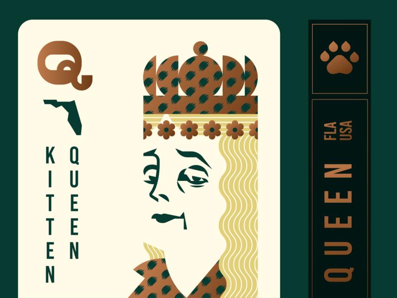 Carole Baskin Playing Card deck of cards crown king leopard gold foil florida joe exotic tiger queen geometric illustration logo