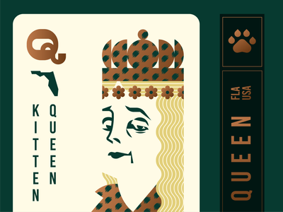 Carole Baskin Playing Card deck of cards crown king leopard gold foil florida joe exotic tiger queen geometric illustration logo