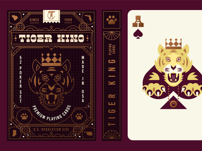 Tiger King Playing Card Deck oklahoma custom type box packaging paw ace of spades crown cat monoline gold foil illustration logo