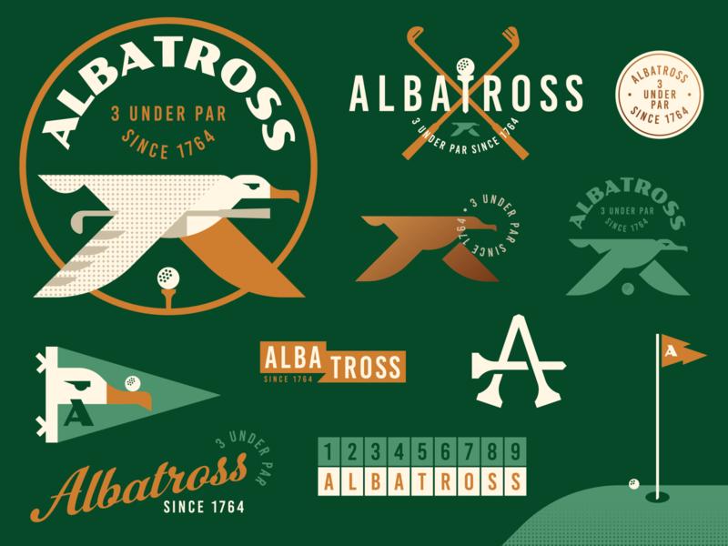 Albatross Golf Badges geometric vintage retro crest pennant hole in one golf ball flag tee golf club animal bird illustration logo