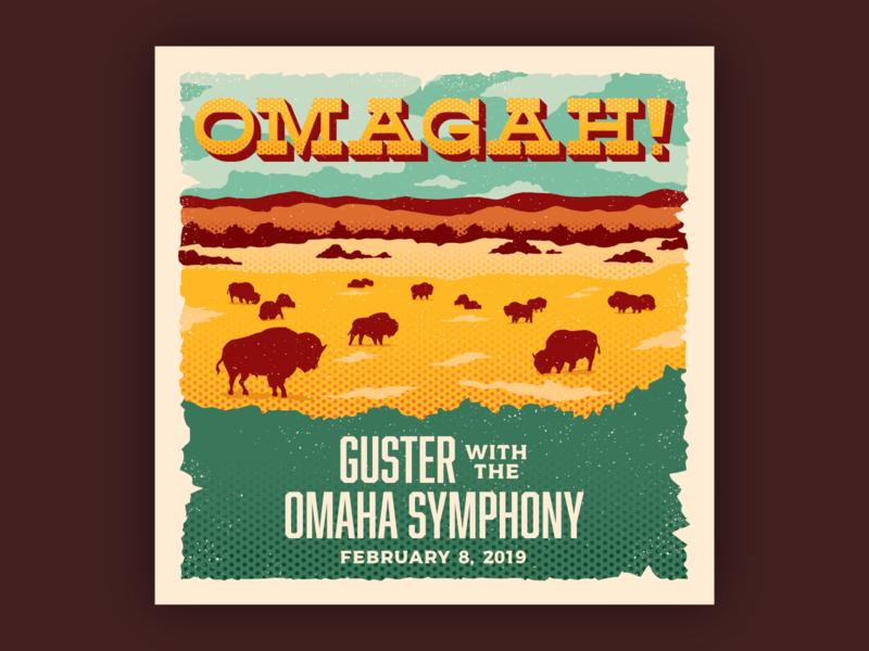 Omagah! Guster Live with the Omaha Symphony concert music western halftone postcard vintage retro nebraska great plains prairie buffalo bison cover album art illustration