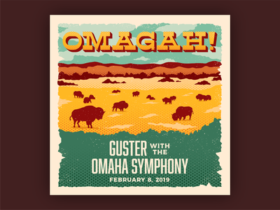 Omagah! Guster Live with the Omaha Symphony concert music western halftone postcard vintage retro nebraska great plains prairie buffalo bison cover album art illustration