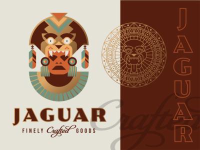 Brandimals 10 - Jaguar feather mesoamerica custom type script foil gold seal clay mask warrior aztec tribal headdress animal geometric illustration logo