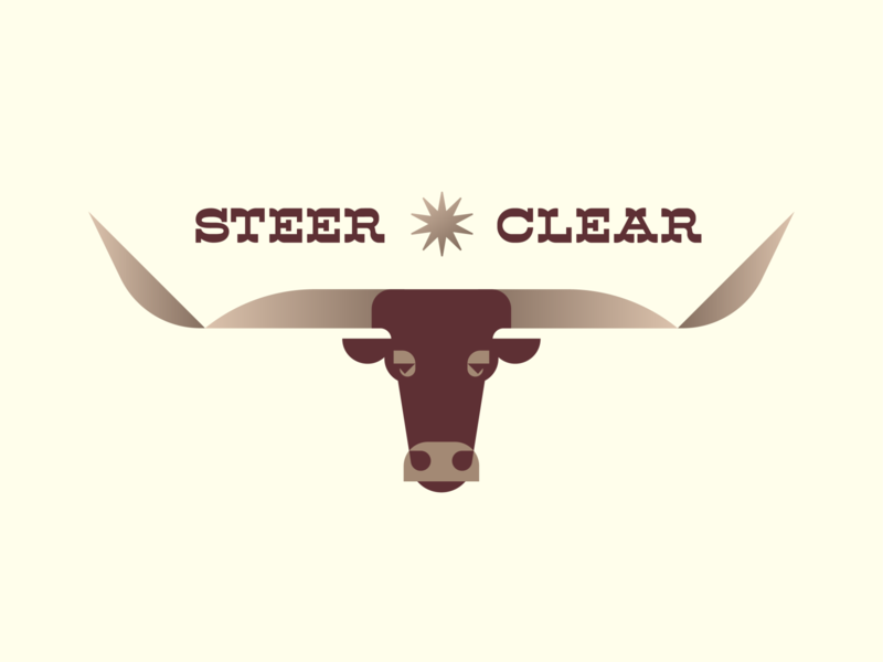 Steer Clear animal ranch midwest cowboy western gold gradient social distancing covid19 coronavirus star spur horn cattle cow bull illustration logo