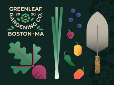 Gardening spring badge leaf flower jalapeno onion scallion turnip beet blueberry raspberry habanero trowel shovel berry fruit vegetable garden illustration logo