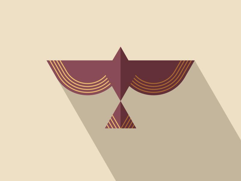 Birb bronze wings flock animal brand geometric triangle diamond wing bevel shadow gold fly bird illustration logo