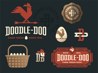 Doodle Doo rustic gold grow arrow america retro vintage farm monogram sign basket egg weathervane rooster chicken seal branding badge illustration logo