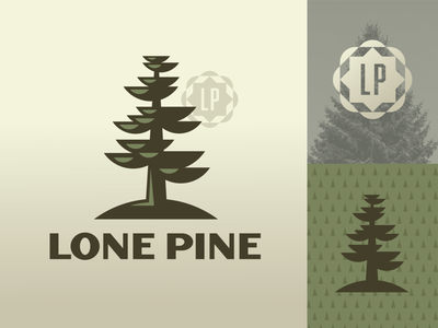 Lone Pine semicircle tall star geometric green vintage retro hill branches branch leaf leaves tree badge seal illustration logo