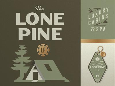 Lone Pine pt. 2 gold postcard pamphlet doortag forest woods retreat getaway vintage retro tree pine cabin tags key motel hotel geometric illustration logo
