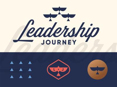 Leadership Journey leader team development growth consultant consulting business arrow triangle flock bird custom script brand identity geometric logo
