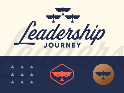 Leadership Journey leader team development growth consultant consulting business arrow triangle flock bird custom script brand identity geometric logo