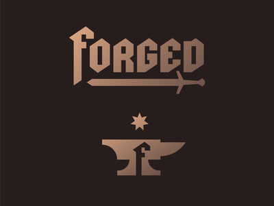 Forged furnace industrial cast tools tool gold bronze custom type gothic blackletter iron medieval sword forge blacksmith star anvil geometric illustration logo
