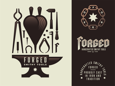 Forged - Blacksmith Tools nail bellows forge medieval iron gold bronze industrial blackletter star chain horseshoe tongs file hammer pincers anvil geometric illustration logo
