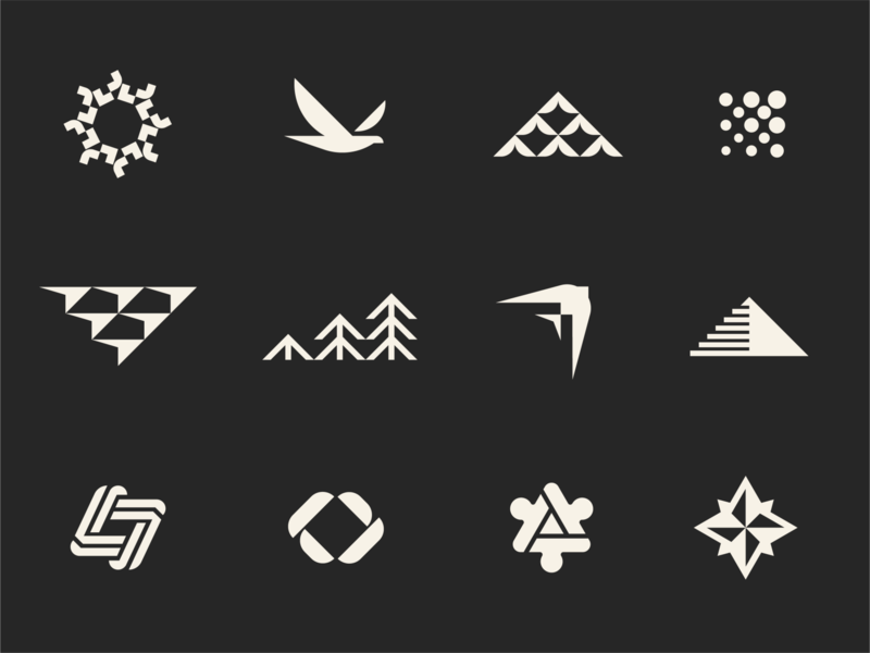 Leadership Journey - Logo Exploration mountain swallow bird icon sun fly negative space connect loop stair compass up puzzle forward dot arrow flock growth bird geometric logo