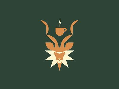 Kudu antlers antler packaging brand identity wildlife antelope star ethiopia africa caffeine energy lightning coffee horns horn kudu animal geometric illustration logo