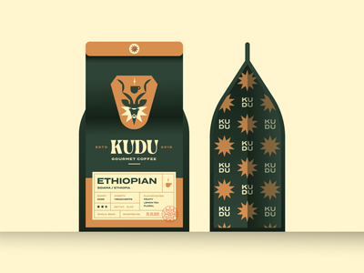 Brandimals 11 - Kudu caffeine roast ethiopia custom type geometric cup label antler antelope bean star packaging bag package coffee illustration logo animal africa