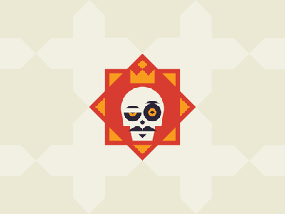 Esqueleto pt. 1 mexican tequila skull king badge eye tile pattern triangle sugar skull medieval skeleton red gold star crown mustache icon geometric logo