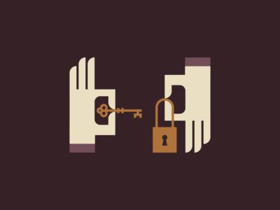 Lock & Key retro vintage unlock symmetrical symmetry gold bronze abstract skeleton key padlock hand icon geometric illustration logo