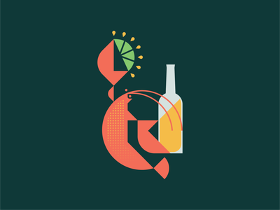 Summer Lobster sun squeeze sea ocean barbecue bbq bake fresh juice corona bottle lemon lime seafood animal geometric illustration logo beer claw