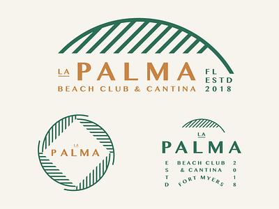La Palma green gold vintage branding geometric ocean tropical frond restaurant bar beach cantina palm tree fort myers florida badge retro illustration logo