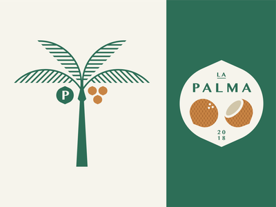 La Palma part 2 leaves frond ocean drink bar beach cantina cabana restaurant crest vintage retro badge nut coconut tree palm geometric illustration logo