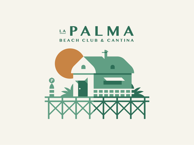 La Palma part 3 ocean plant shadow buoy dock pier palm awning roof architecture restaurant cantina cabana hut beach building branding geometric illustration logo