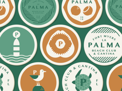 La Palma part 4 bone ocean turtle sea buoy teeth shark jaws tree leaves frond palm coaster coconut seagull badge animal branding illustration logo