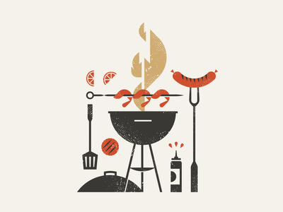 Summer BBQ kabob skewer shrimp napkin charcuterie matchbox matches sauce burger lemon charcoal flame fire grill spatula sausage hot dog illustration logo barbecue
