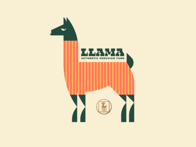 Brandimals 12 - Llama kuzco peruvian andes peru skein needle fabric sweater knit crochet crocheting knitting yarn wool fleece alpaca animal geometric illustration logo