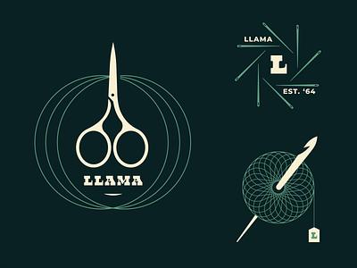 Brandimals - Llama part 2 tool scissors lockup gold spiral skein yarn ball hook crochet needle thread knitting knit yarn badge animal icon geometric illustration logo