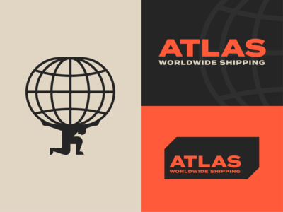 Atlas Worldwide Shipping identity corporate vintage modern modernism global logo retro industrial orange container mythology myth greek global international world branding icon geometric logo