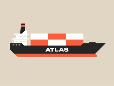 Atlas - Round 2 retro black orange minimal illustration logo geometric vector international worldwide world container boat barge tanker cargo freight shipping ship