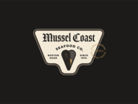 Mussel Coast Seafood Co. blackletter layout type market fish shellfish boston new england ocean sea gold clam shell mussel oyster mollusk geometric badge illustration logo