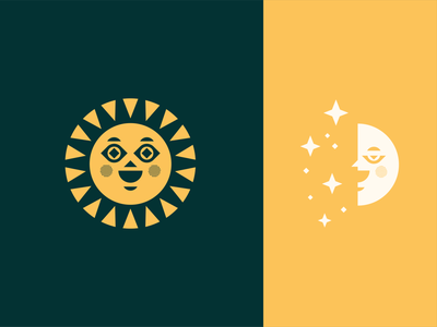 Sun / Moon holistic health wellness branding vector opposite cheeks eye happy smile face day night star shine ray icon geometric illustration logo