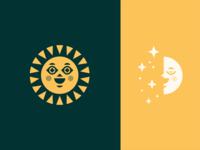 Sun / Moon holistic health wellness branding vector opposite cheeks eye happy smile face day night star shine ray icon geometric illustration logo