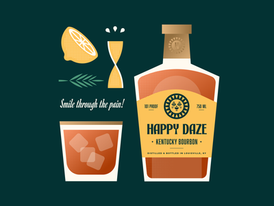 Happy Daze Bourbon kentucky sun gold juices juice citrus rosemary label bottle alcohol cocktail tumbler whiskey sour zest twist lemon geometric illustration logo