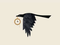 Magpie vector branding thief tail wing wings fly chain clock black texture feather gold pocketwatch animal bird geometric illustration logo