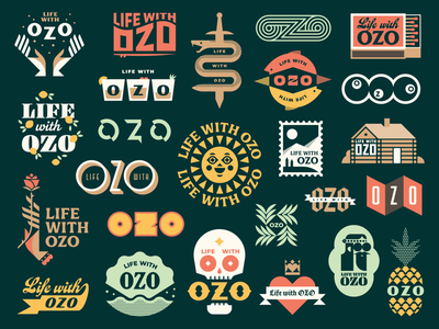 Life With OZO - Logo Suite fish hippie blackletter surf cocktail leaves palm skull rose lemon sun pineapple stamp cabin dagger snake hands shell geometric illustration