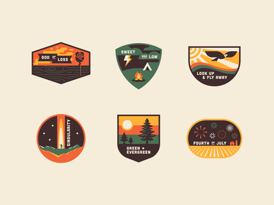 Music Badge Collab 2020 fire badge patch crest bird outdoor nature vintage retro tree rose wood camping song tent camp fireworks farm sun scout