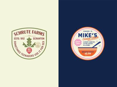 Scranton Stickers the office documentary pennsylvania 60s diner bowl vegetable breakfast cereal farm scranton office michael scott dwight schrute beet vintage retro badge
