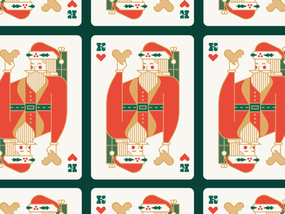 Santa Playing Card saint nick present green red 2020 hat holly royal holiday christmas cookie deck playing card hearts king geometric illustration logo